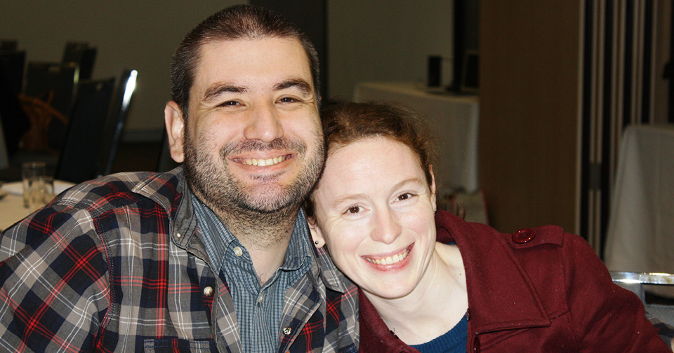 A man and woman have a hilarious night at Northcott's Spina Bifida Awareness Week comedy event
