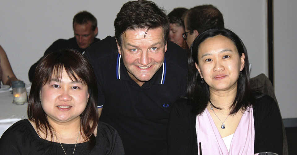 Comedian Lawrence Mooney with two women who attended Northcott's hilarious Spina Bifida Awareness Week comedy night