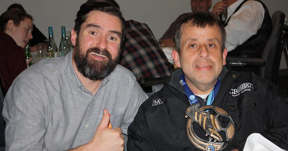 Carmelo Raspanti with Andrew Barrett (left) at Northcott's Spina Bifida Awareness Week comedy night